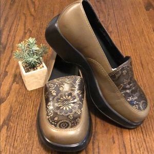 Dansko Tooled Leather Mules - Olive Green